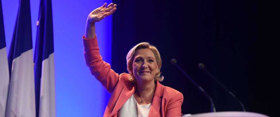 File pic of Marine Le Pen addressing a National Rally meeting near Paris on 23 September 2018