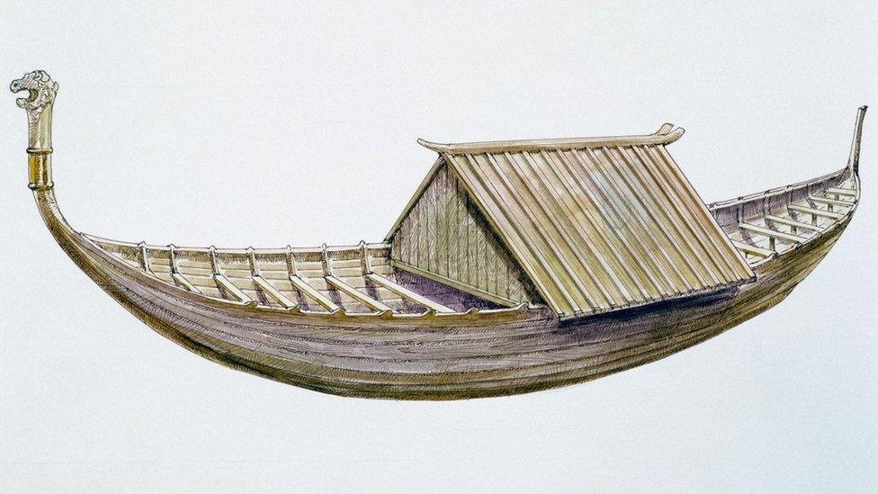 Drawing of Sutton Hoo burial ship