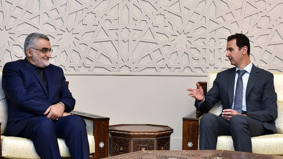 Syrian President Bashar al-Assad (R) meets Alaeddin Boroujerdi (L), the chairman of the Iranian parliament's foreign affairs and national security committee, in Damascus, Syria (15 October 2015)