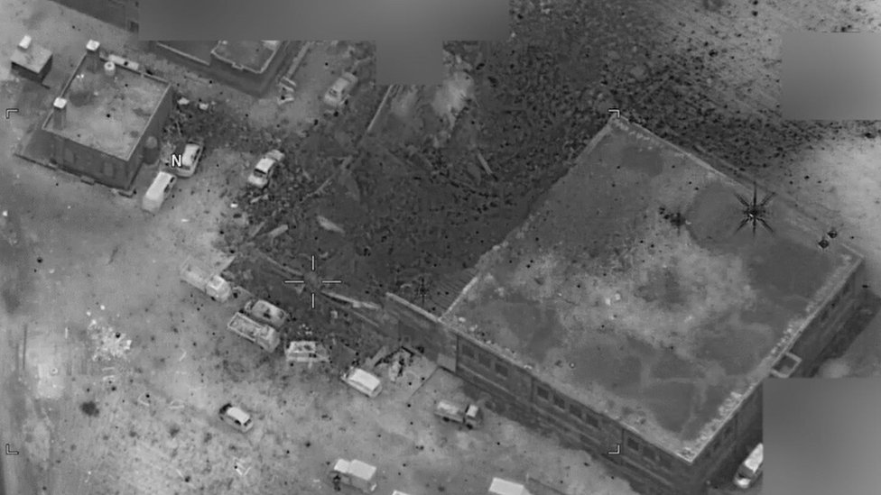 A post-strike photo released by the pentagon of what it says is the site of an al-Qaeda senior leader meeting in al-Jinah, Syria (16 March)