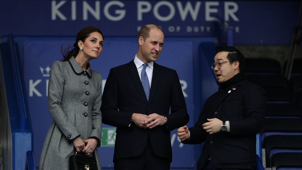 Catherine, Prince William and Mr Aiyawatt inside the King Power Stadium