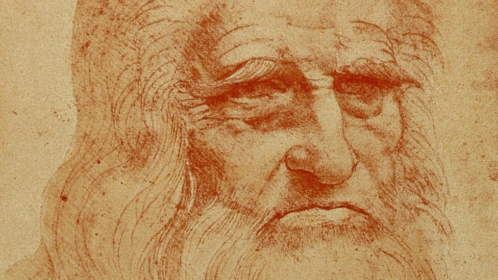 Portrait of a bearded man in red chalk by Leonardo da Vinci (circa 1510), widely accepted as a self-portrait