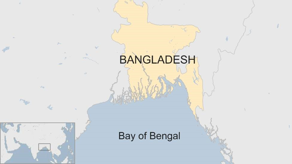 Map showing Bangladesh and the Bay of Bengal