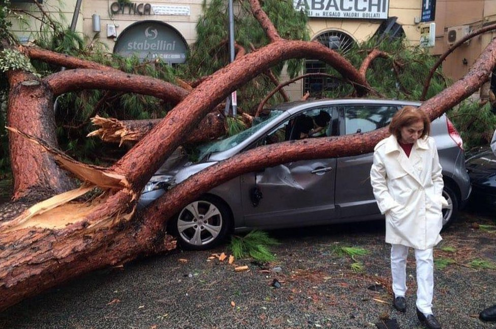 A view of a fallen tree over a car after strong winds hit Terracina, Italy, 29 October 2018