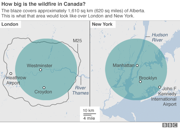 Graphic comparing the area hit by a wildfire in Canada to the same size area in London and New York
