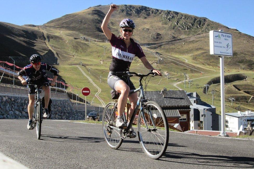 Esther beats Dan in a cycling race