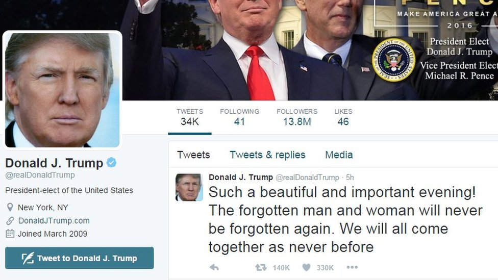 Screen grab showing Donald Trump's Twitter bio