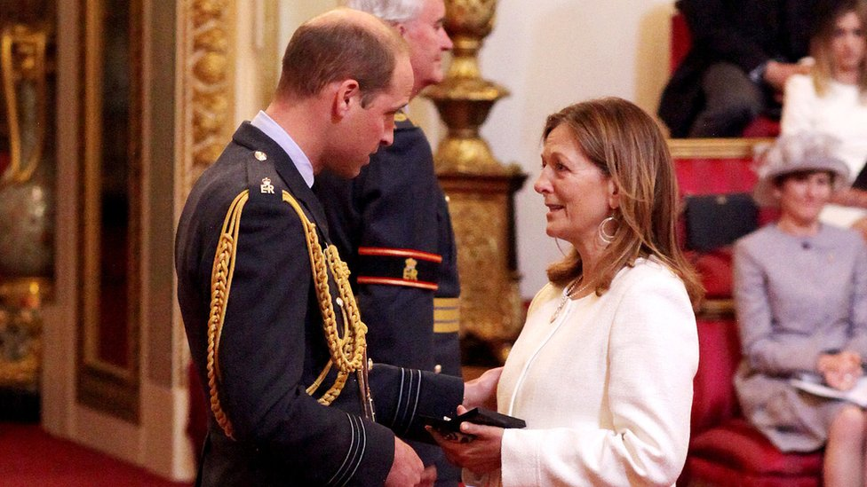 Joanna Worsley receives the Polar Medal awarded to her late husband, Lieutenant Colonel Henry Worsley