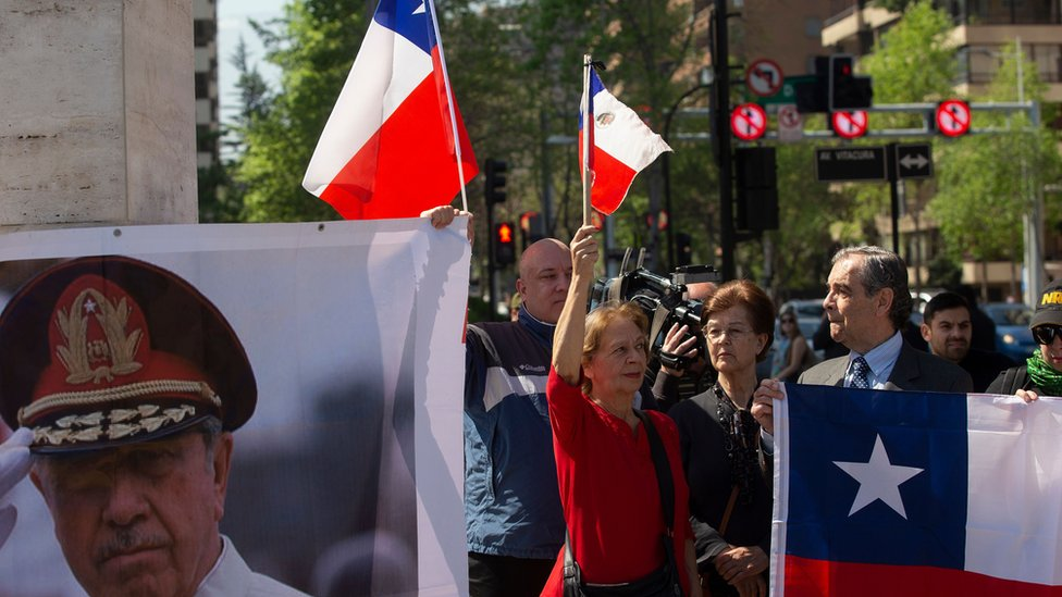 Manifestante con imagen de Pinochet