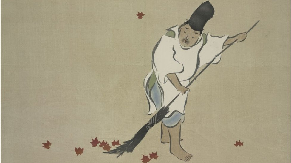 Ancient drawing of a Japanese person sweeping the floor