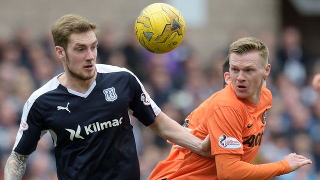 Dundee's Kevin Holt (left) battles for the ball against Dundee United's Billy McKay