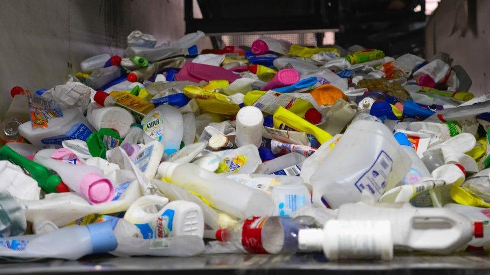 Plastic bottles on a conveyor belt