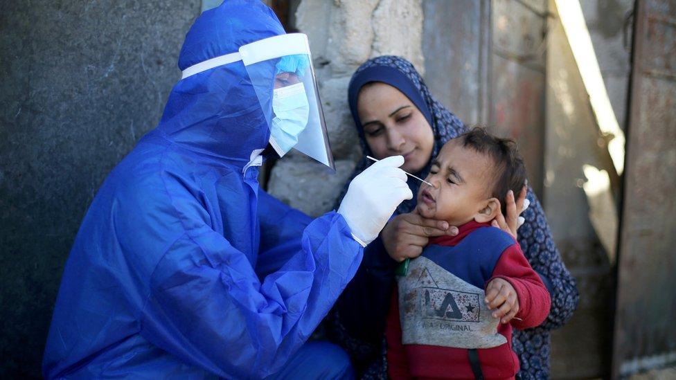 عامل طبي فلسطيني يجري اختبار الكشف عن فيروس كورونا لطفل