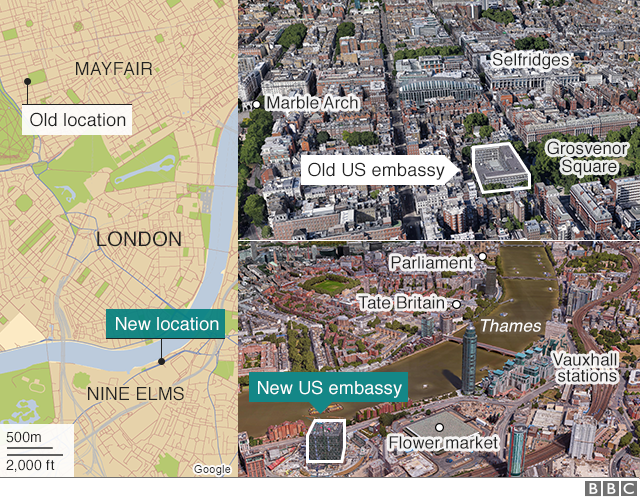 Map showing the locations of the new and old US embassies in London