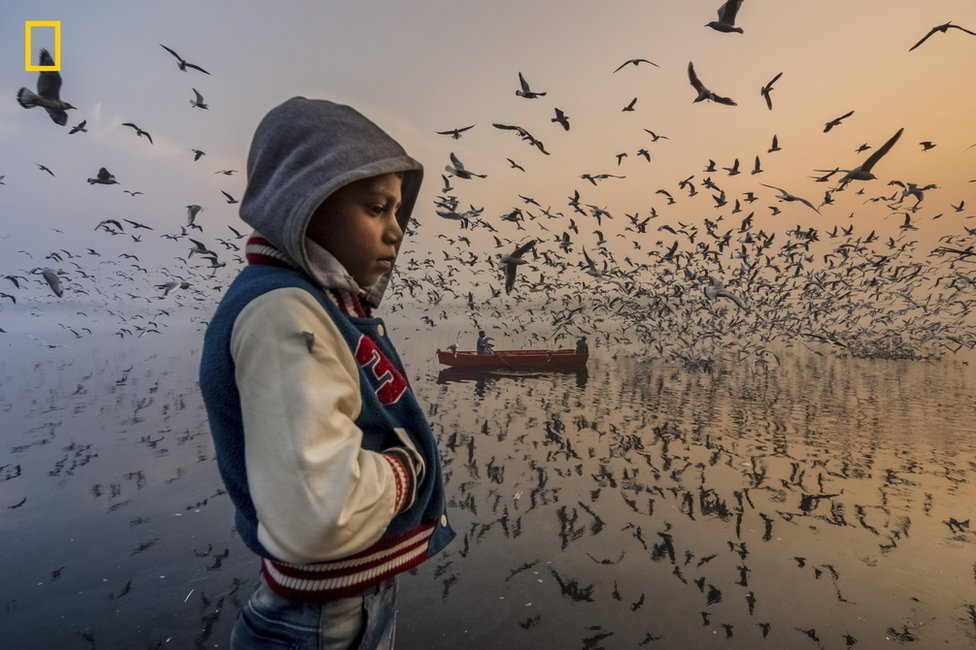 A boy is lost in thought with birds swooping around him
