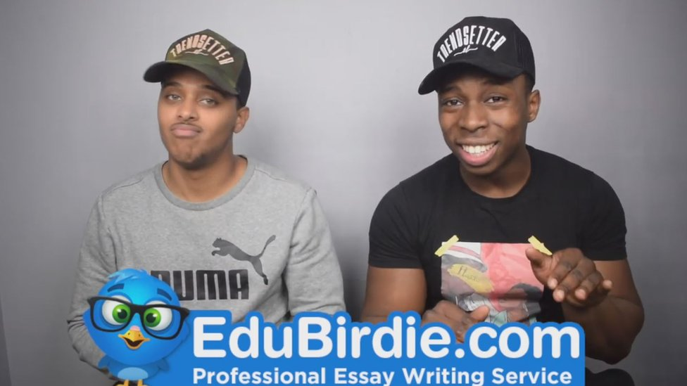 A photos of two YouTubers promoting essay writing service EduBirdie