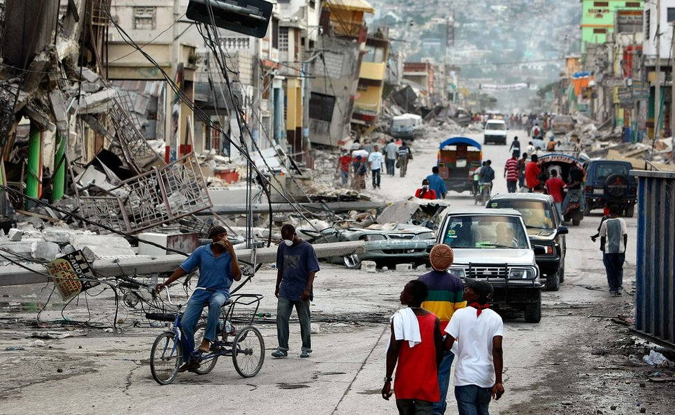 Destruction after Haiti earthquake in Port-au-Prince