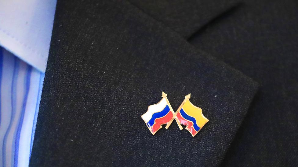 Banderas Colombia y Rusia