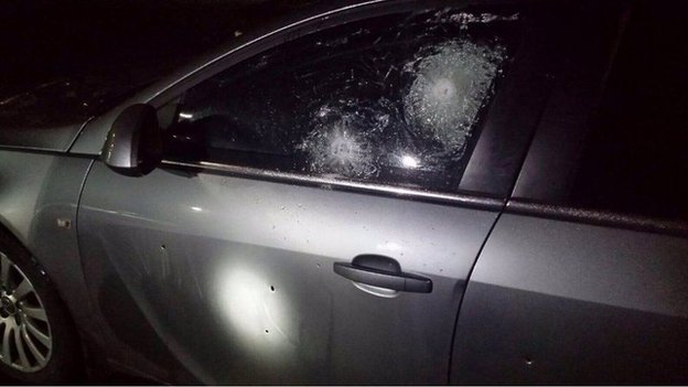Police car hit by gunfire
