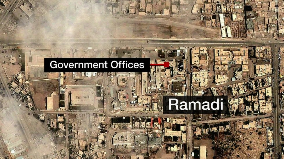 Aerial map os Ramadi. Iraq - 27 December 2015