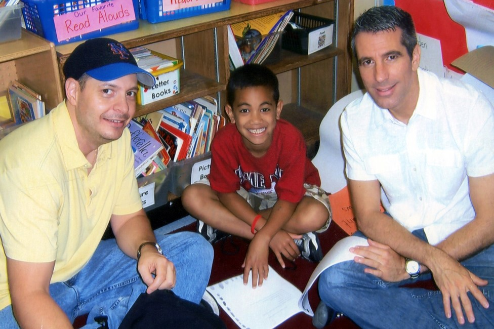 Pete, Kevin and Danny on a visit to Kevin's school in 2007