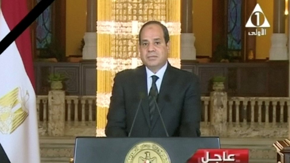 Egyptian President Abdel Fattah Al Sisi gives a televised statement on the attack in North Sinai, in Cairo, Egypt November 24, 2017 in this still taken from video