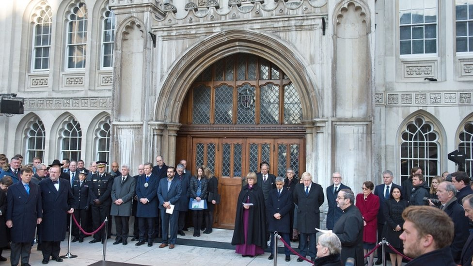 A vigil in Guildhall Yard, London, to honour the victims off the London Bridge terror attack