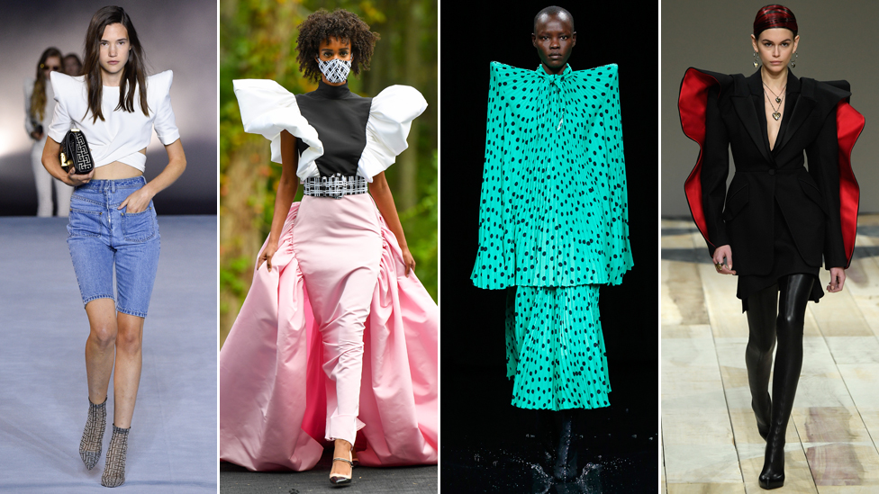 L-R: Balmain, Christian Siriano, Balenciaga, Alexander McQueen