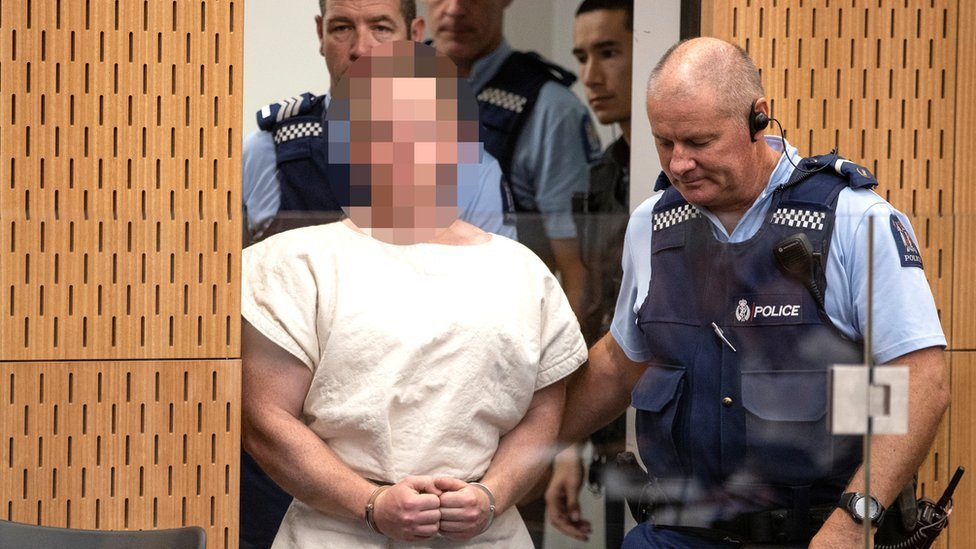 Brenton Tarrant, charged for murder in relation to the mosque attacks, makes his first appearance in the Christchurch District Court