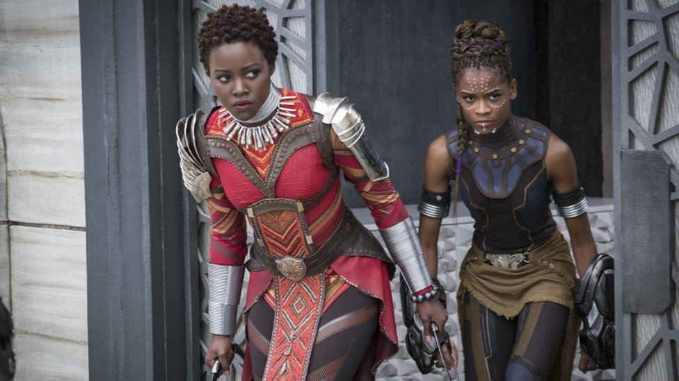 """Nakia (Lupita Nyong""""o) and Shuri (Letitia Wright) in still from Black Panther"""