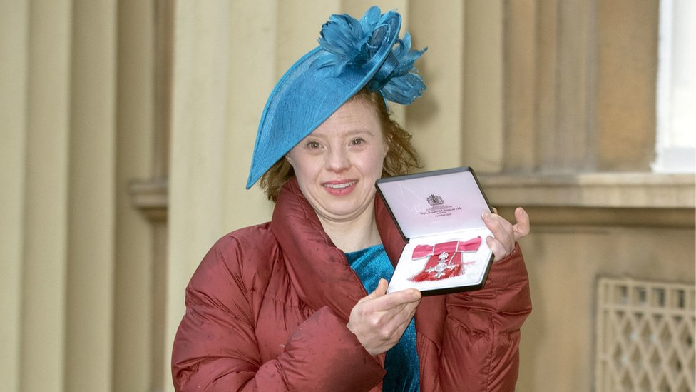 Sarah Gordy MBE at Buckingham Palace