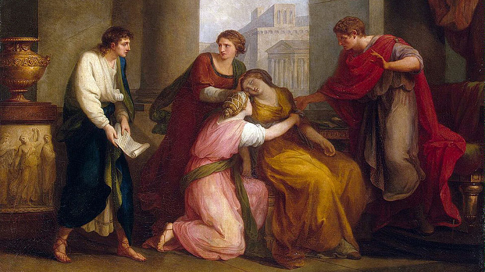 """Virgilio leyendo la Eneida a Augusto y Octavia"", pintado por Angelika Kauffmann, (1741-1807)."