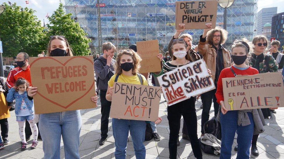 Manifestación en apoyo a los refugiados sirios.