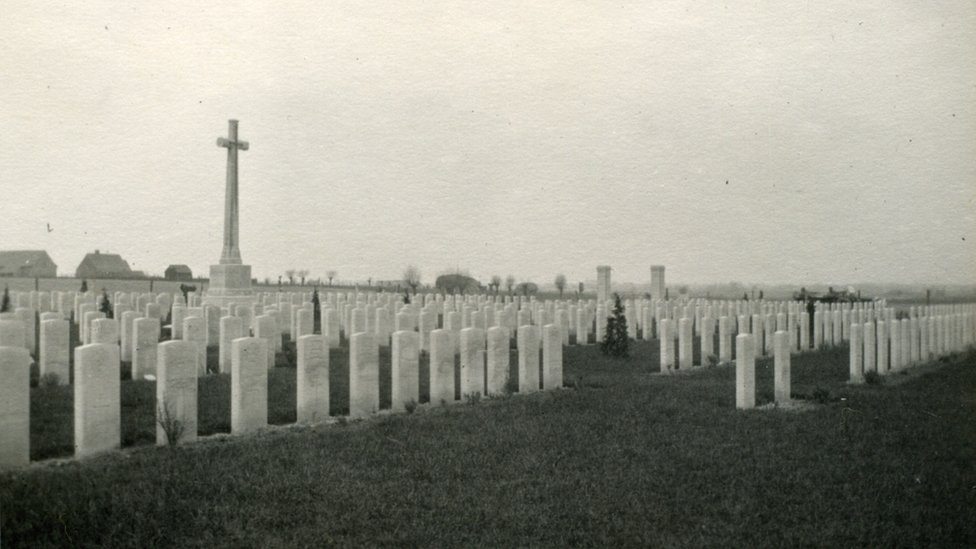The Huts Cemetery, pictured after the war
