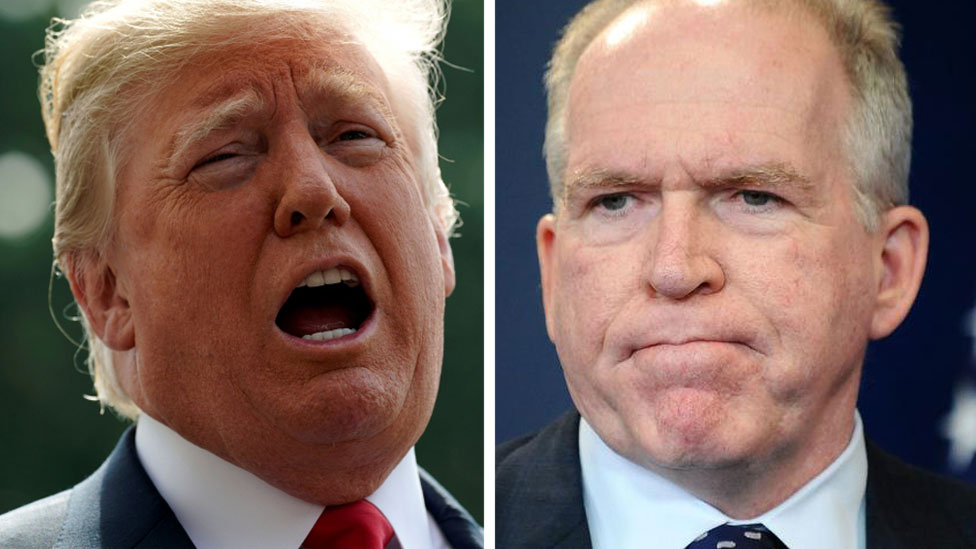 Composite image of President Trump and John Brennan
