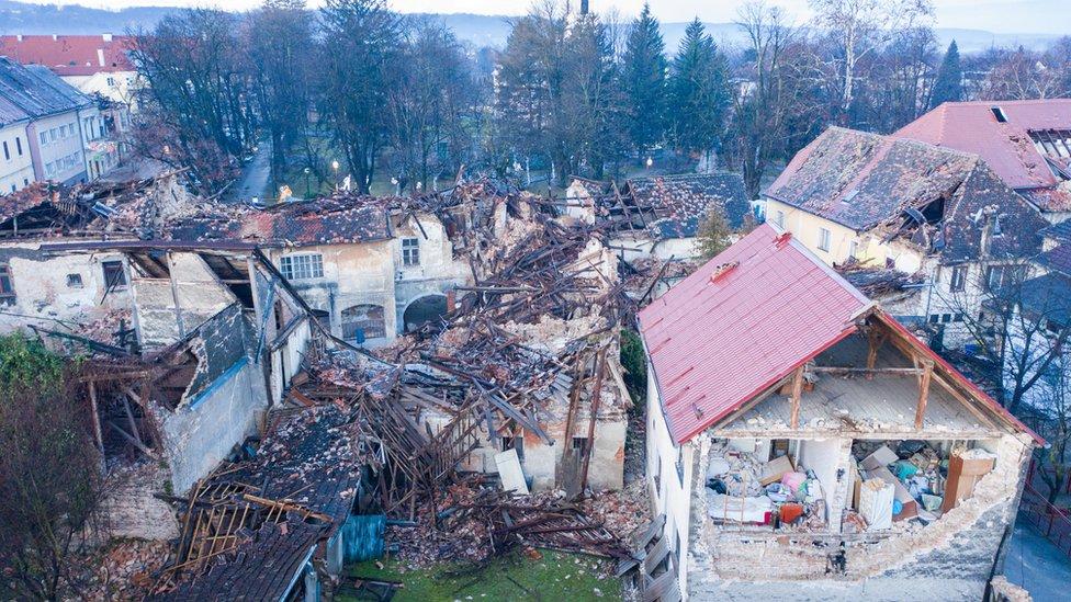 Damaged buildings are seen after an earthquake in Petrinja, Croatia