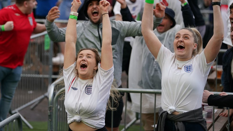 England fans in Manchester celebrate