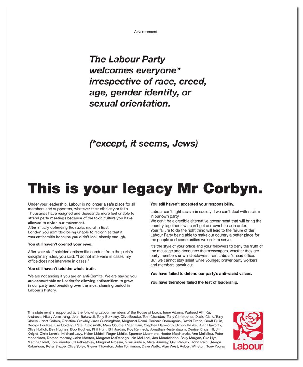 """The advert signed by 60 Labour peers, which starts: """"The Labour Party welcomes everyone* irrespective of race, creed, age, gender identity or sexual orientation. (*except, it seems, Jews)"""""""