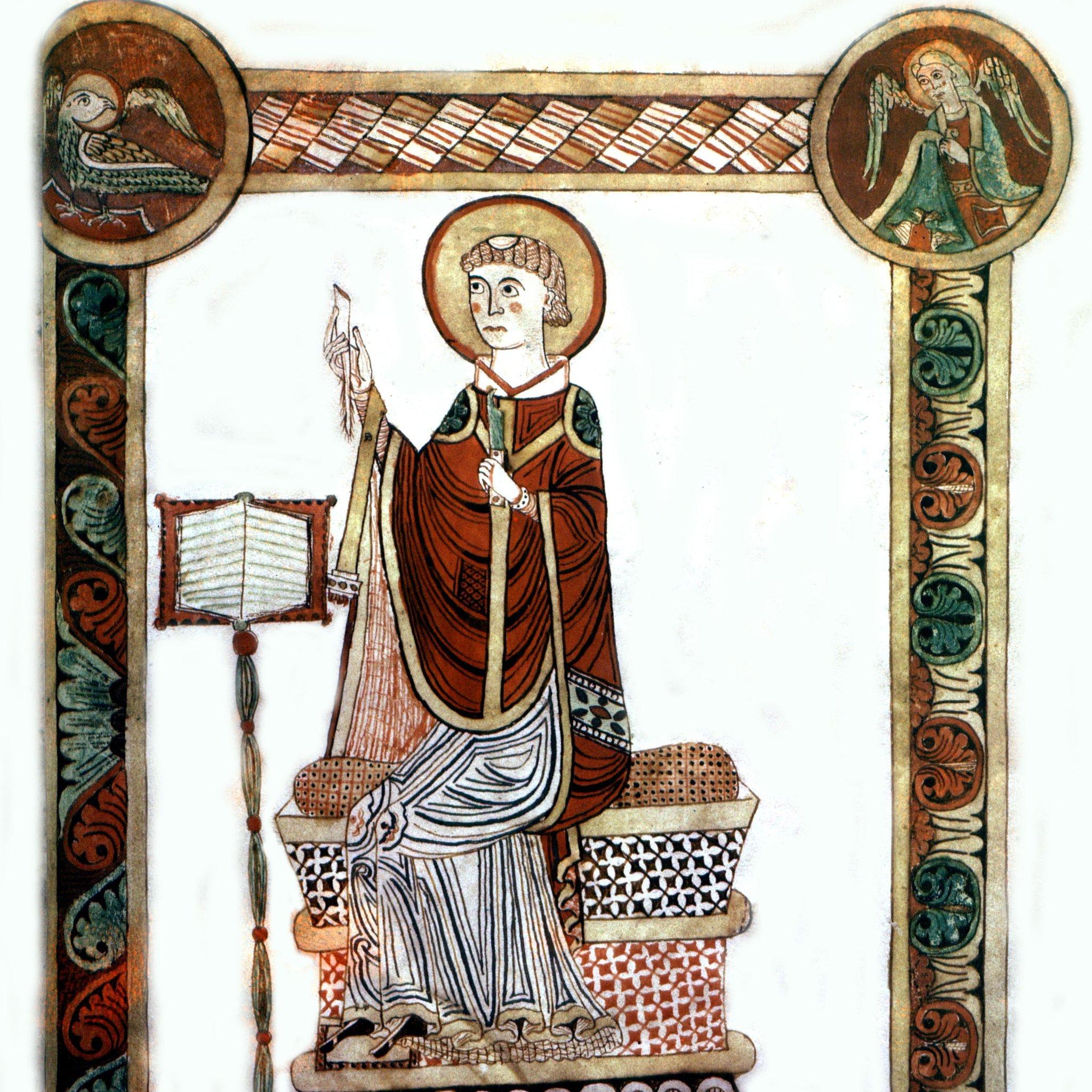 San Beda el Venerable (673-735), en una imagen hecha en el siglo XIII.