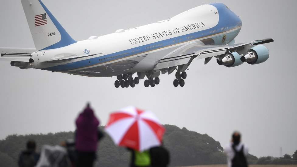Air Force One takes off from Prestwick Airport