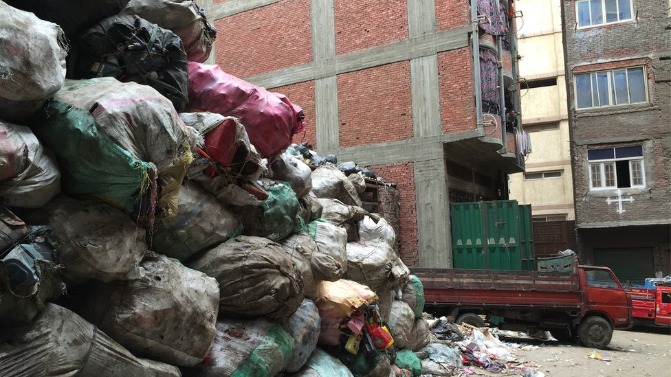 Mound of collected rubbish in Cairo