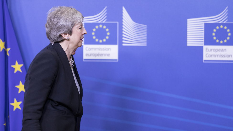 Theresa May during her visit to Brussels on 20 February