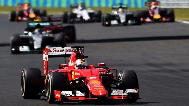 Sebastian Vettel leads the Hungarian Grand Prix