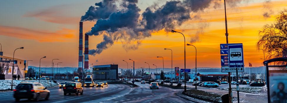 Smoke from industry chimneys