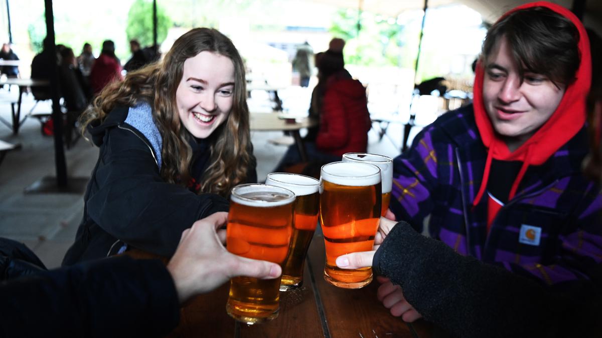 Enjoying a pint in south London, 12 April 2021
