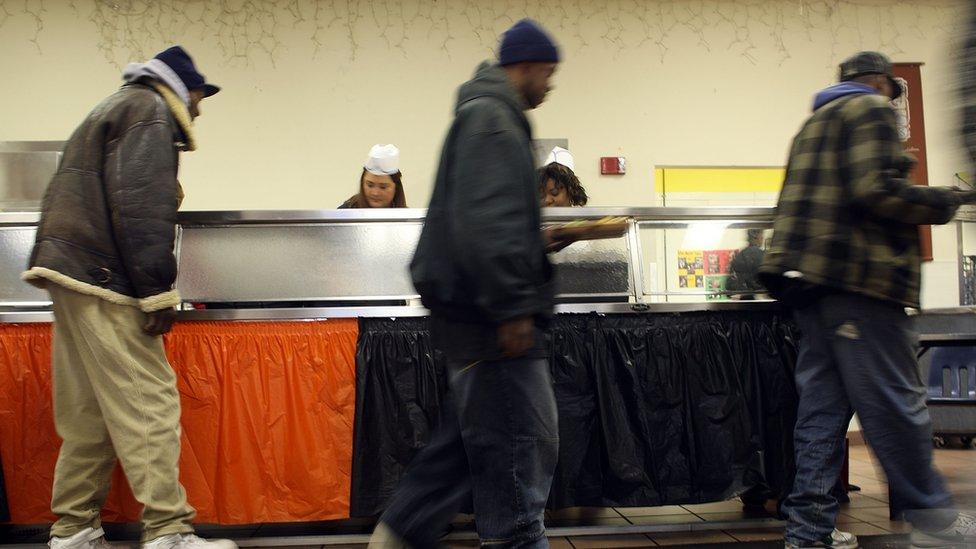 Un comedor de beneficencia en Detroit, noviembre de 2008.