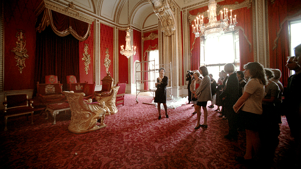Throne Room at Buckingham Palace ahead of public opening in 1998