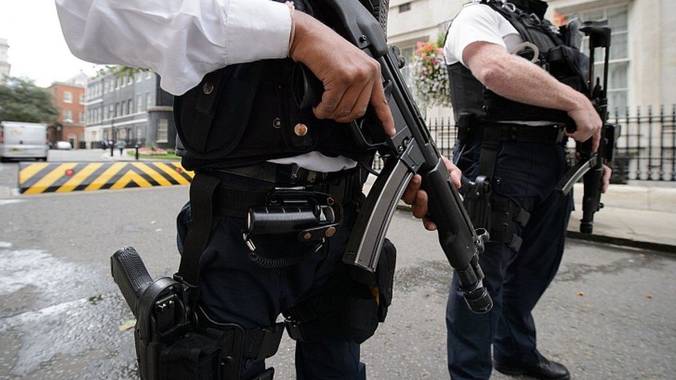 Armed police in Downing Street