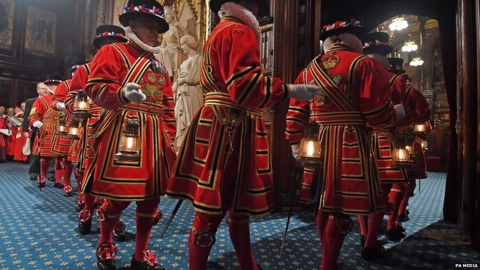 "The Yeoman of The Guard performing their traditional ""search"" of the cellars of the Palace of Westminster"