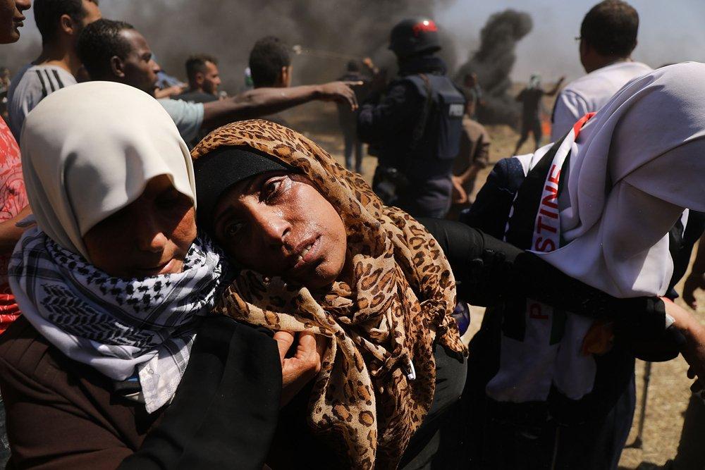 Mujer palestina herida durante las protestas